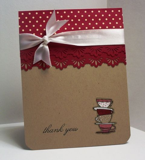 Fun 'thank you' card.  I like the layout and the red against the kraft paper background looks nice.  Would make a cute holiday card if the bottom portion had something Christmassy