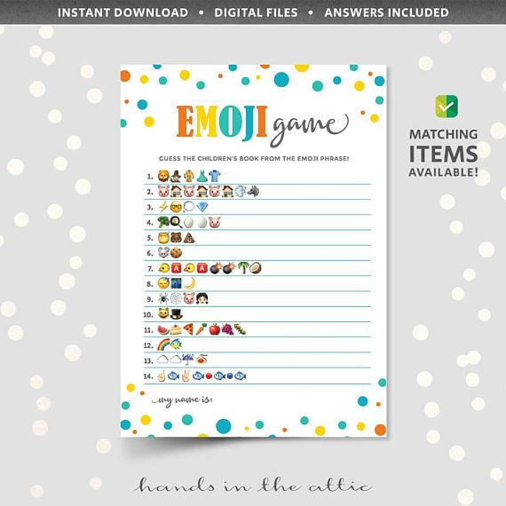 Emoji Pictionary Game With Answers Printable Baby Shower Phone Icons Guess The Phrase Children S Book Titles Kids Them Pictionary Baby Name Game Emoji Games