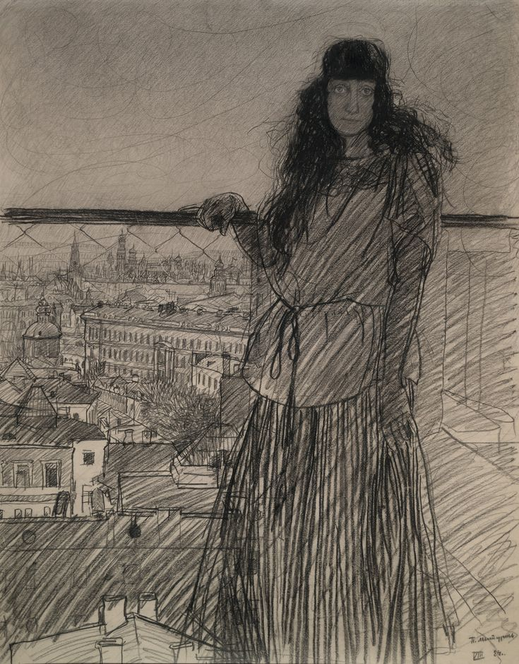 Петр Митурич – Портрет Веры Хлебниковой-Митурич, 1924, Бумага, уголь, 73x57.5 | ГТГ