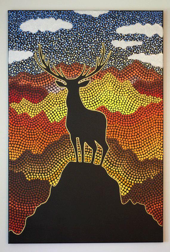 Ciervos punto Original montaña arte pintura 24 x 36 pulgadas