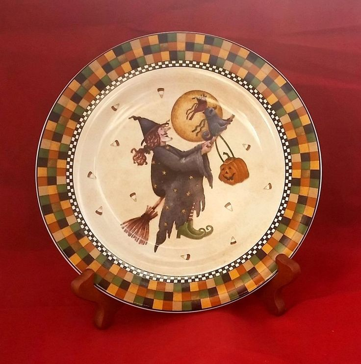 halloween flying witch sakura casual dining debbie mumm 2001 ceramic 8 plate - Halloween Ceramic Plates