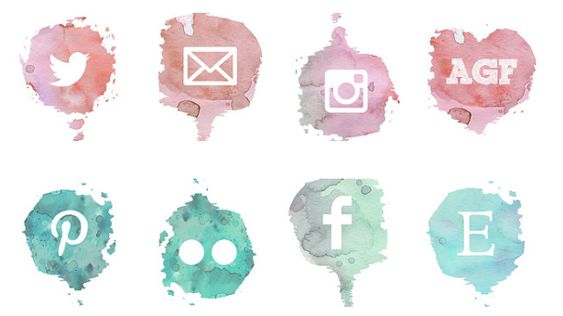 This free set of social media icons features a watercolour style and 8 icons for sites like Pinterest, Twitter, Etsy, Instagram, and more.