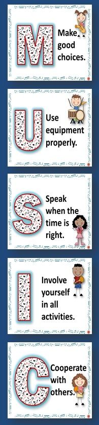 SIX Music Classroom Rules POSTERS -There is one poster/page for each letter in the work MUSIC and one rule per letter