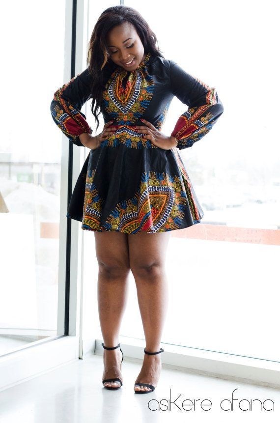 THE ZHARA Dashiki Dress in Noir by AsikereAfana on Etsy