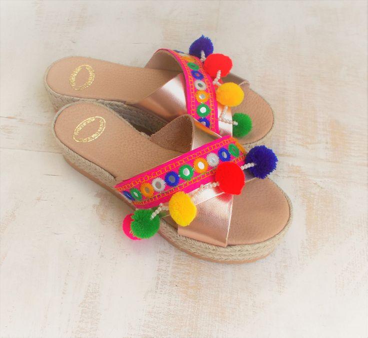 50% OFF! Rose-Gold Flatform Slides Pom Wedges Criss Cross Espadrilles Leather Sandal, Ethnic Boho Flat Platforms, Platform X-strap Sandals by ENOTIA on Etsy