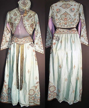 blue-green-silk Ottoman costume that dated from the 1920s
