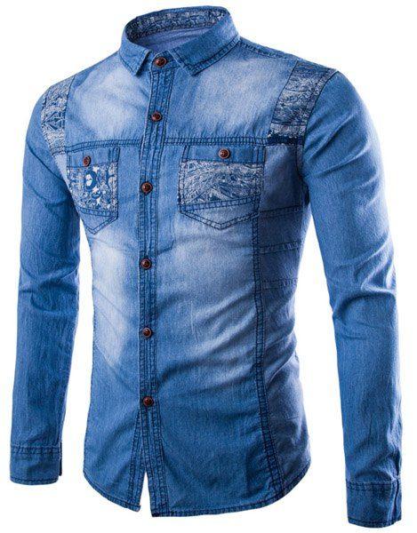 Turn-Down Collar Printed Long Sleeve Denim Shirt For Men