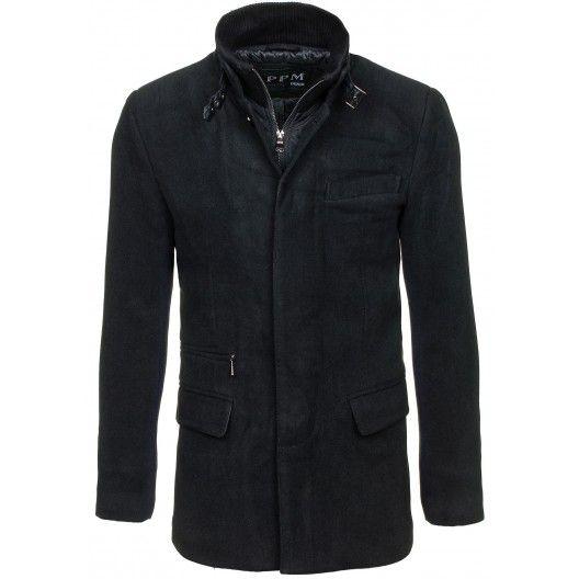 Pánske čierne kabáty bez kapucne - fashionday.eu