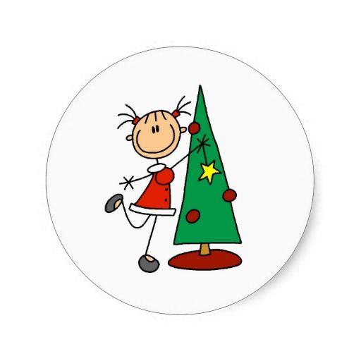 Stick Figure Holiday  Tree Classic Round Sticker