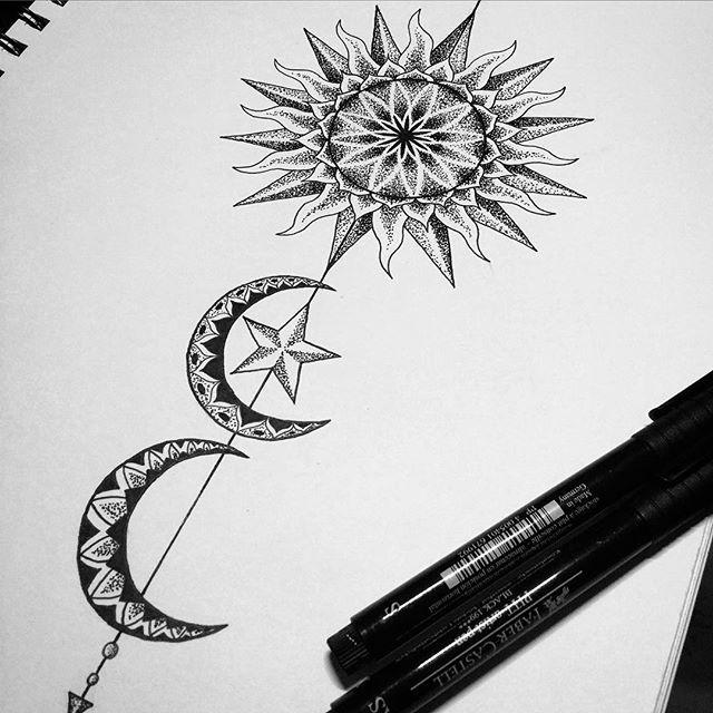 Sun & moon tattoo design.
