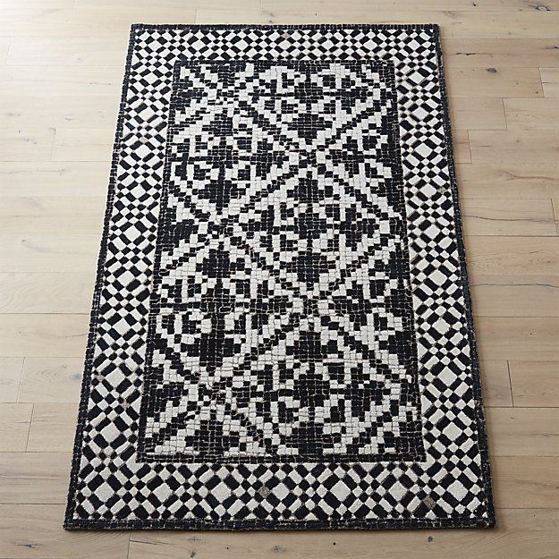 Contemporary Montage Mosaic Tile Area Rug Black And White Pile Throw Rug Surfaces Hexagonal Pattern Viscose Wool Tile Rug Mosaic Rugs White Mosaic Tiles