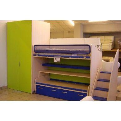 #Cameretta Completa letto castello #MORETTI COMPACT - 2 posti letto a soppalco, cassettoni, scrivania estraibile con ruote, soppalco movibile con scaletta e pedana. 60% di sconto