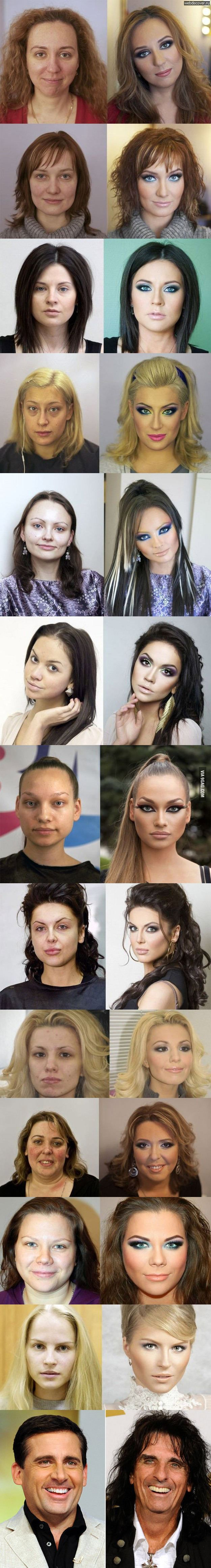 Makeup changes everything. The third to the last one is the most drastic