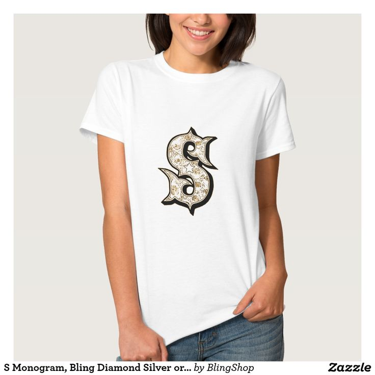 S Monogram, Bling Diamond Silver or Gold T-shirt