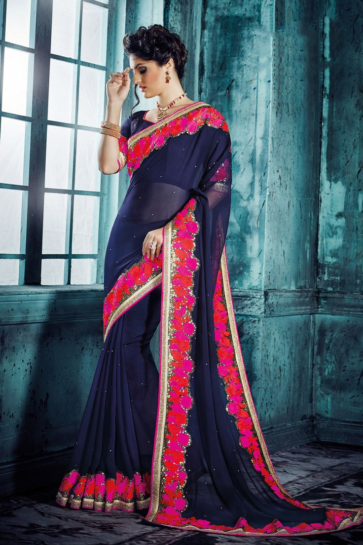 Navy Blue Georgette Party Wear Saree 66207