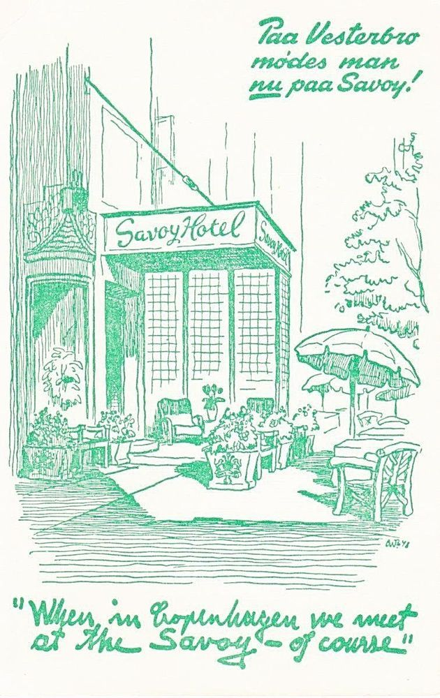 Vintage European Travel Postcard Savoy Hotel Copenhagen Denmark Unposted