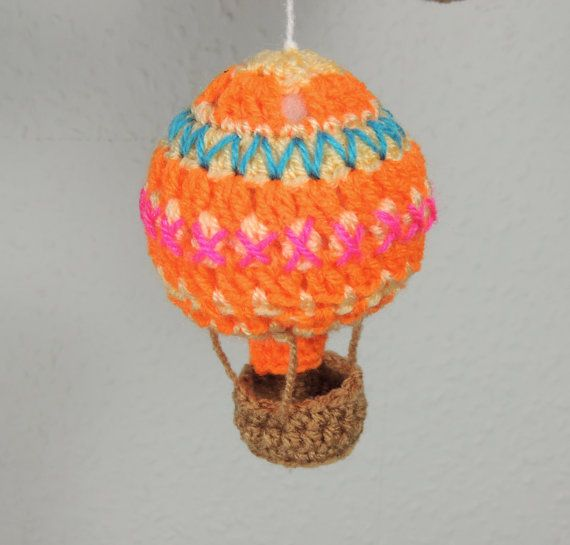 Baby Mobile Hot Air Balloon Baby Shower Gift by SimplyStitcheduk