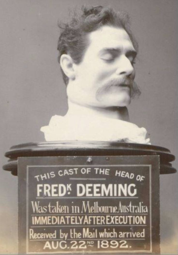 Frederick Deemings death mask with his real hair added. On show in Melbourne. #twistedhistory #melbournemurdertours