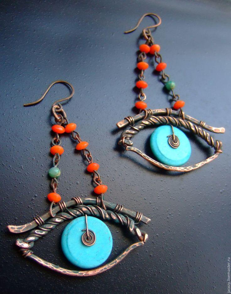 Купить Глаз ГОра медные серьги - комбинированный, серьги, украшение, медь, подарок, бирюза, медь