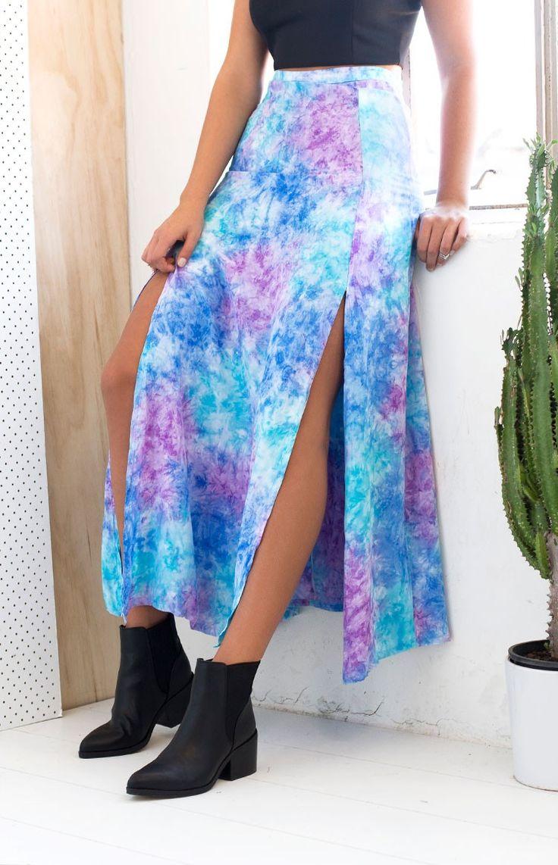 Natalie Maxi Skirt Blue And Purple Tie Dye  #BBFEST #beginningboutique