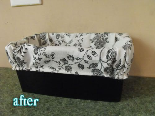 Turn baby wipe containers into a basket: Paint and add fabric, easy as 1, 2, 3!  I know I have allot of these!