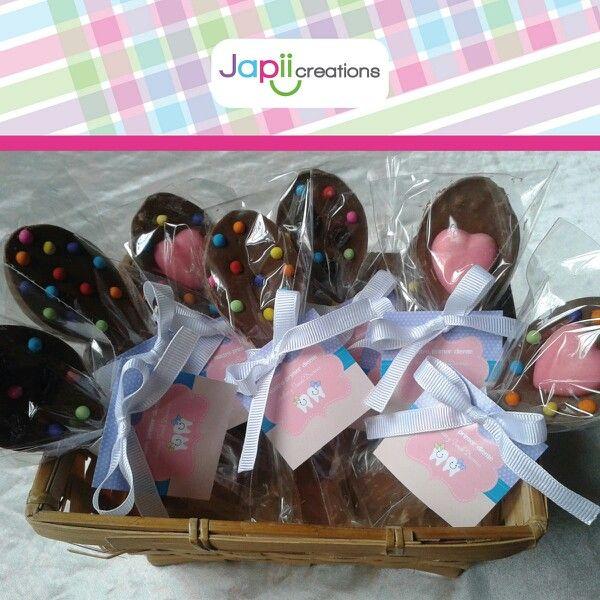 Recordatorio comestible para primer diente. Cucharas de chocolate por Japii Creations