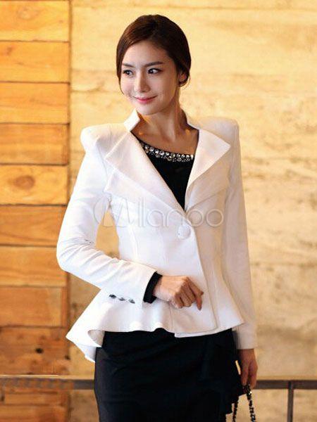 Women's White Blazers 1-button Ruffles High Low Casual Suit Jacket - $23.99 http://shareasale.com/m-pr.cfm?merchantid=69038&userid=1560813&productid=687343934&afftrack=