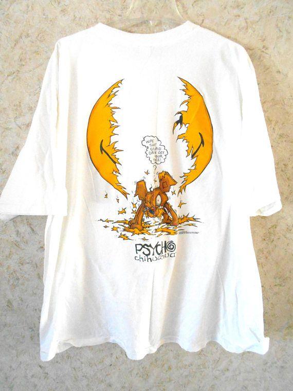 d4fd4ed2 Vintage 90s Psycho Chihuahua Novelty Tee T Shirt White Crewneck ...