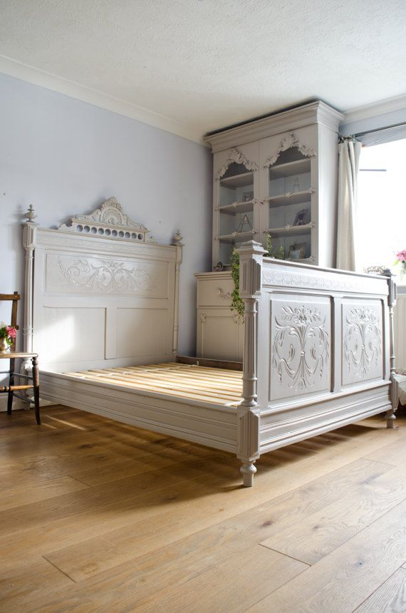 Antique French 19th Century Carved Double Bed