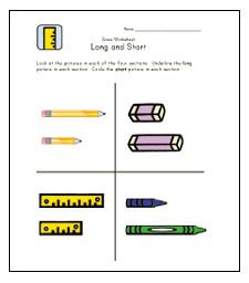 LONG and SHORT:Help teach children the concept of length (long and short) with these printable size worksheets