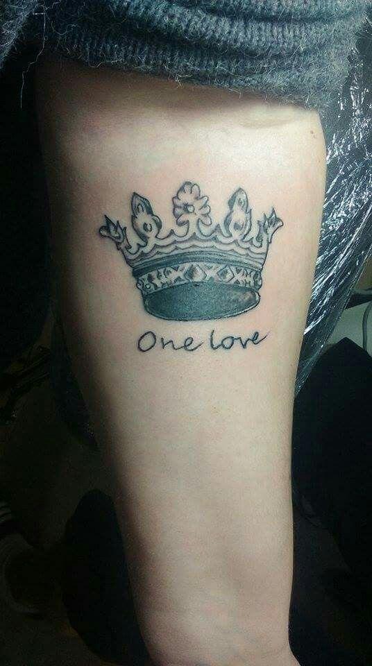 Boyfriend-girlfriend tattoo.