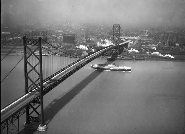 The Bridge between Detroit and Windsor Canada in the #1930's