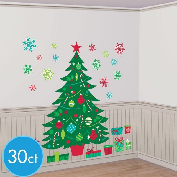 Christmas tree wall decals 30pc for Christmas wall mural plastic