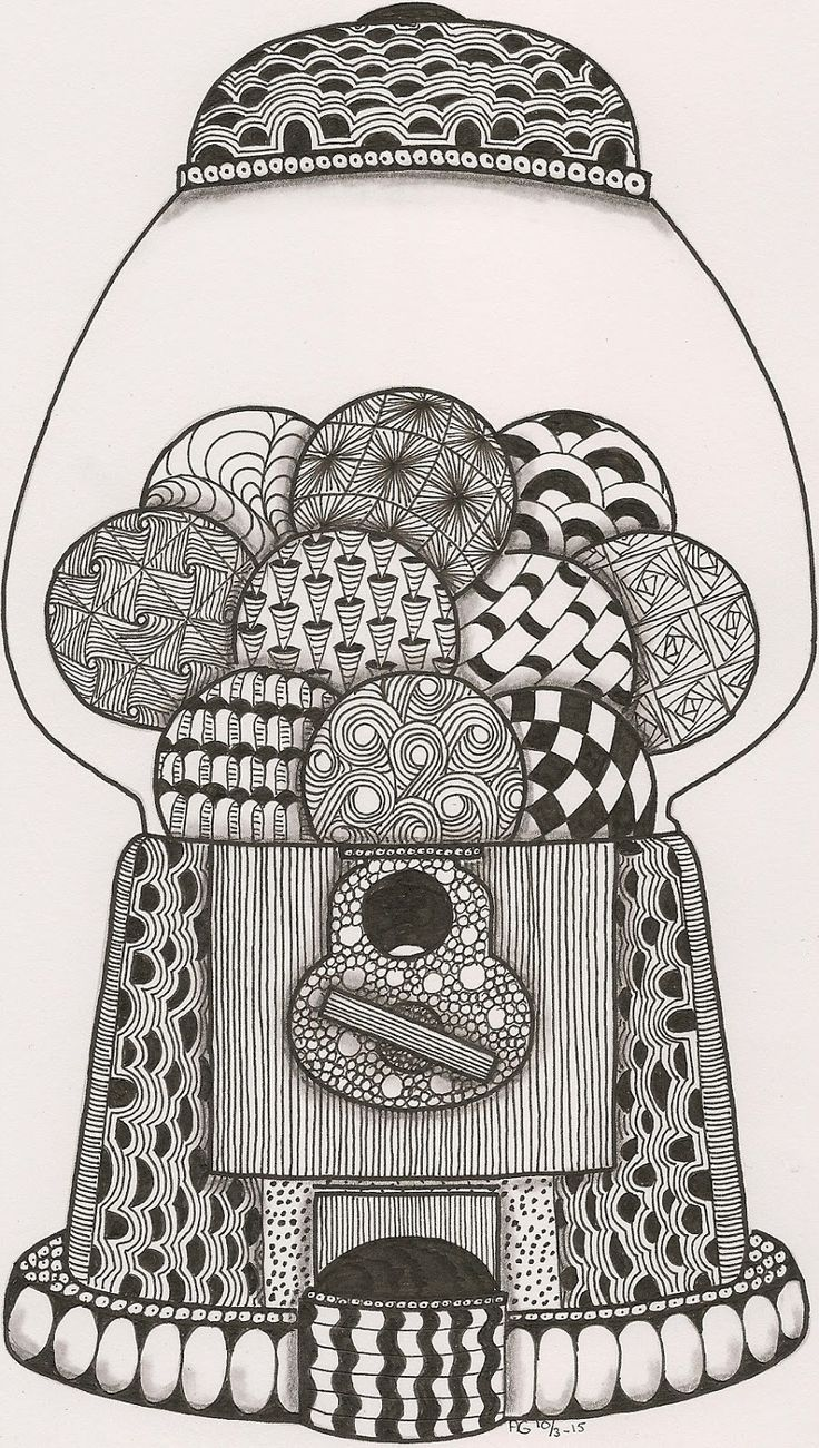 Disney zentangle coloring pages - Zentangle Gum Balls Coloring Page