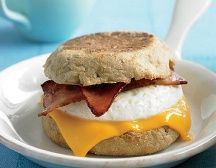 Biggest Loser Loaded Breakfast Sandwich: 1 sandwich; 168 Calories, 3.7g Fat, 12.5mg Cholesterol, 25.3g Carbs, 8g Fiber