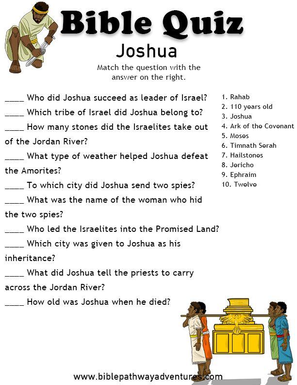 Printable bible quiz - Joshua