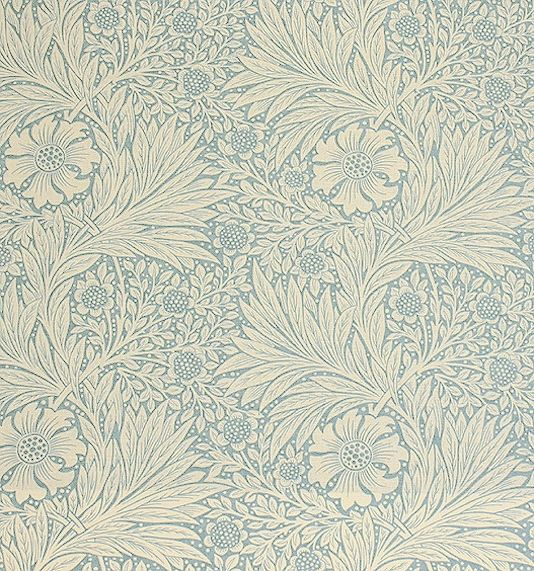 Marigold Linen Fabric Originally this was printed as a wallpaper but transfers well on to linen union.  China blue floral design printed on cream.