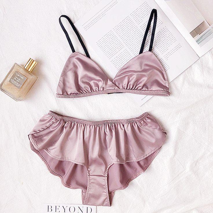 Sexy Women Silks Satin Bra Underwear wireless triangle cup bralette Girl Thin Lingerie Waves Panty Silks Underwear Set