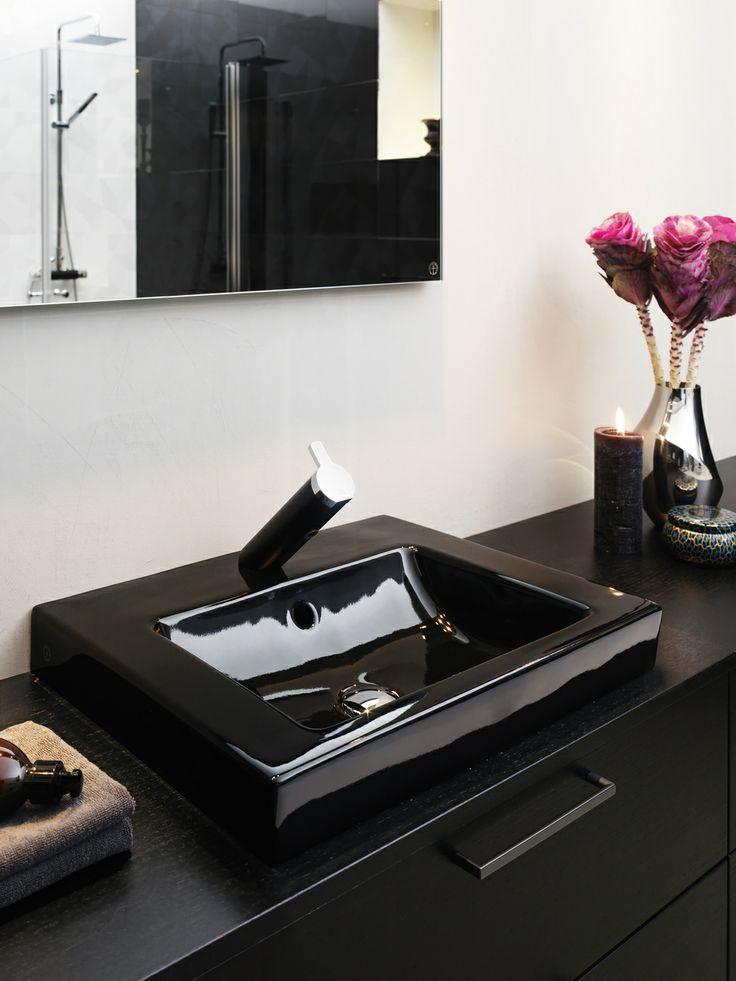 Tvättställ för bänkskiva från Artic i Glossy Black. | GUSTAVSBERG