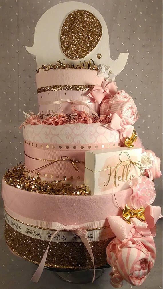 3 Tier Golden Eye & Ear Elephant DIAPER CAKE w/ white cake