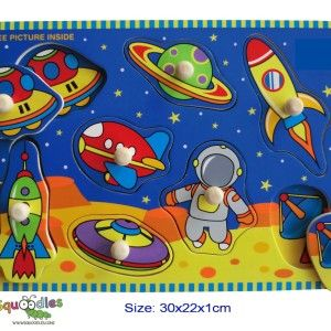 A beautifully illustrated galaxy complete with spaceman, rocket ships and alien spacecraft - with a sturdy knob on each piece to help small fingers grasp them. RRP $11.95 http://squoodles.co.nz/products/space-wooden-puzzles-for-kids/