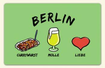 """Kühlschrankmagnet """"Berlin: Currywurst-Molle-Liebe""""-die stadtmeister -  Geschenke mit Lokalkolorit & City-Souvenirs sowie dialektfreie und überregionale Geschenkideen zu jedem Anlass"""