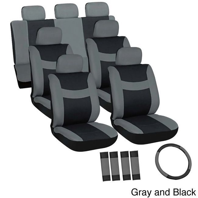 Oxgord Cloth / Mesh 17-Piece SUV Seat Covers Set for Sport Utility Vehicles with 3 Rows (Gray and Black), Grey