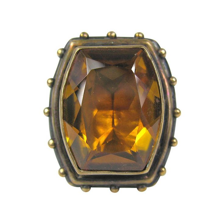 Stephen DWECK Citrine Bronze ring New Old Stock 90s   From a unique collection of vintage fashion rings at https://www.1stdibs.com/jewelry/rings/fashion-rings/