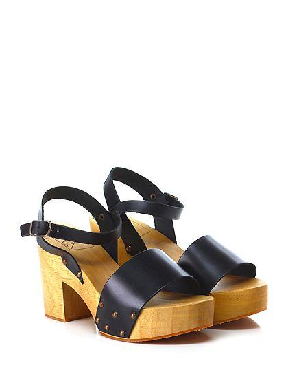 Antidoti - Sandalo alto - Donna - Sandalo alto in pelle con cinturino alla caviglia e suola in gomma. Tacco 95, platform 40 con battuta 55. - NERO - € 89.00