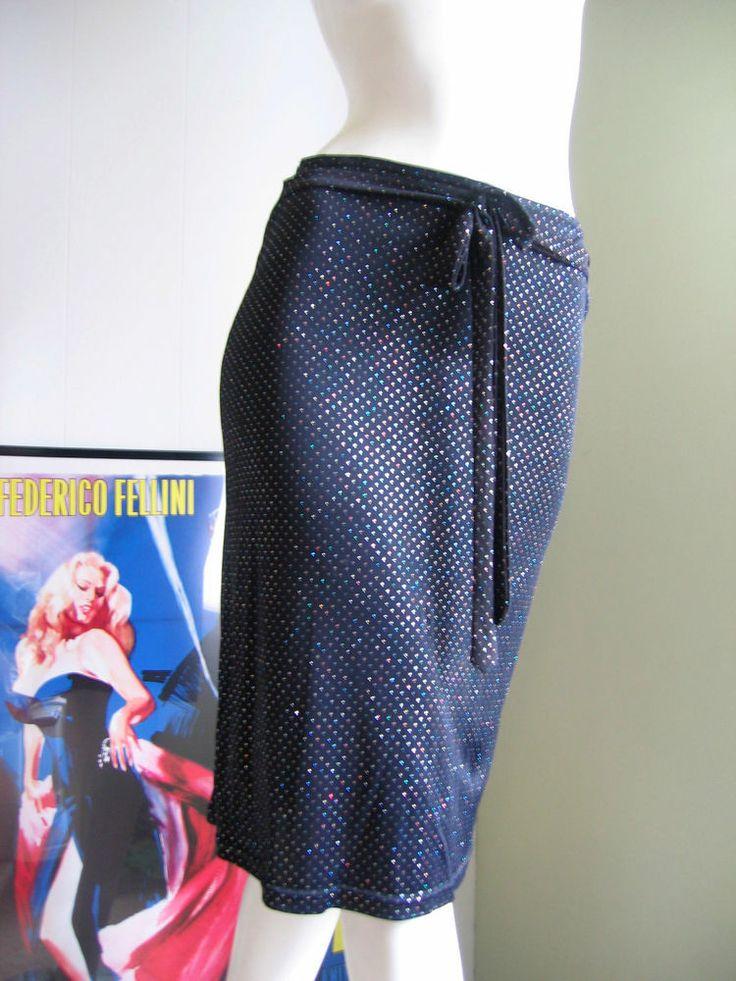 Vintage 1990s Sz M French Paris Morgan de Toi Black Wrap Skirt Sparkles Holiday $14.99