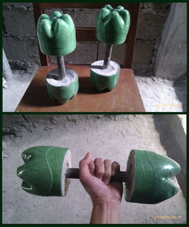 My father made this dumbbells out of plastic bottle with some cement and metal pipe. A great way to reuse, reduce and recycle.