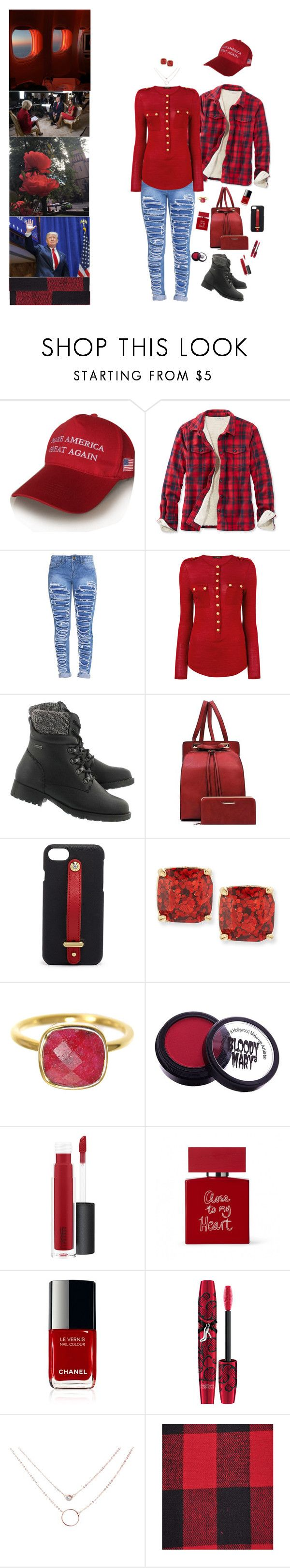 """Make Her Great Again"" by blackmagicmomma ❤ liked on Polyvore featuring L.L.Bean, Balmain, Henri Bendel, Kate Spade, John Lewis, Bella Freud, Physicians Formula and Trump Home"