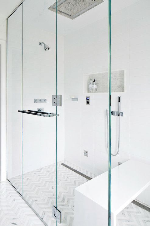 Clean Design Partners - Thassos & Carrara Bella marble chevron tile floor, seamless glass shower, sleek white vanity & counter ...