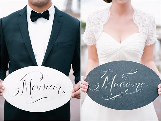 monsieur and madame wedding signs